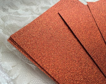 DIY  Copper Glitter Cardstock 5x7 for Wedding or Quince Invitations - Burnt Orange Glitter - Table Numbers - Menus - Programs - Cardmaking