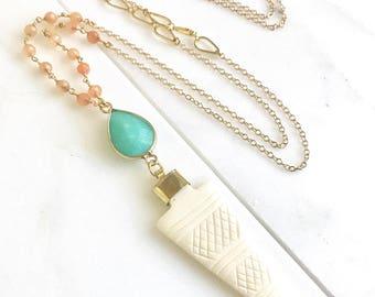 Long Necklace with Arrow and Aqua Jade Teardrop and Peach Jade Beaded Chain. Boho Style Necklace. Boho Jewelry.