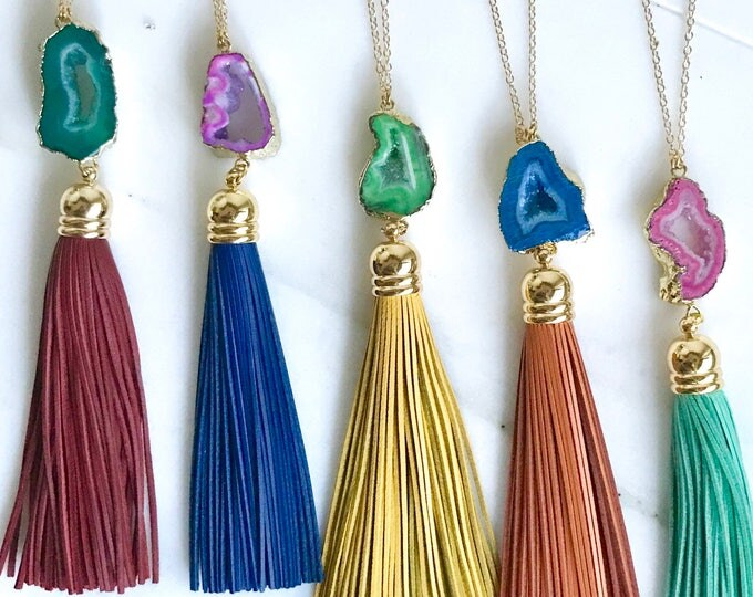 Tassel Necklace. Leather Tassel Necklace. Turquoise Druzy Geode Tassel Necklace. Long Tassel Necklace. Boho Tassel Jewelry. Gift.