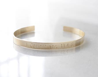Gold Filled Engraved Cuff Bracelet- Create Your Own, Personalized Engraved, Bible Verse, Longitude Latitude, GPS Coordinates, Roman Numerals