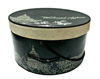 Vintage Hat Box - Woodward & Lothrop Washington D.C. 1950s - Stunning Panoramic Graphics