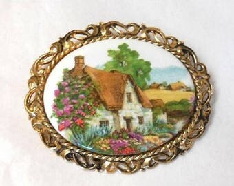 Vintage Thatch Cottage Brooch Ceramic with gold tone frame Victorian revival English Great Gift