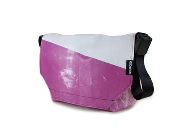 Large Messenger Bag made from Recycled Truck Tarp, Man Bag, Satchel Style Bag, MacBook Bag (61.08)