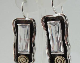 Earrings,cristal   Handmade 9K yellow , 9k Gold Sterling Silver Gift,Vintage earring cristal stone earrings, Dangle Round Earrings (ms 387e