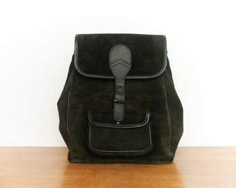 Vintage Black Suede Leather Backpack Rucksack Daypack Satchel