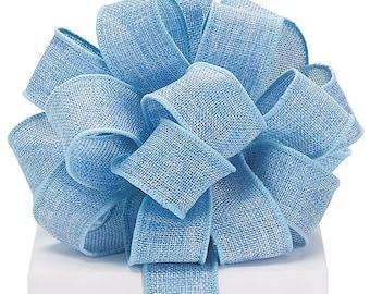 "Ribbon, Burlap Ribbon, 5YDS  Blue BURLAP 1-1/2"" Wired Wire Edge Ribbon rustic wedding, romantic, beautiful"