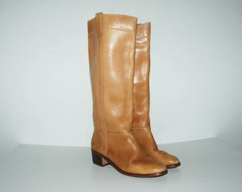SALE! Until Feb 24th! Size US 6.5 / 70s Tan Leather Riding Boots