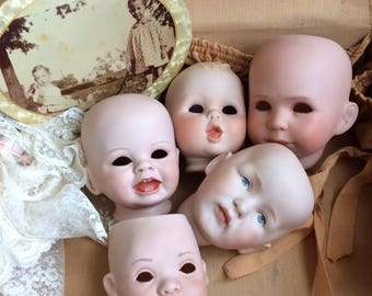 These Vintage Bisque Doll Heads Are Looking For Airplants For Sure