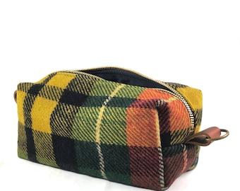 READY TO SHIP: Medium Toiletry Bag - Vintage Scottish Buchanan Tartan with Leather (muted tones)