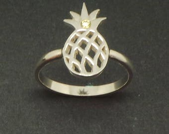 Silver Pineapple Ring - Pineapple Jewelry, Food and Fruit Jewelry, Hawaiian Summer Jewelry, Best friend gift, hospitality gift