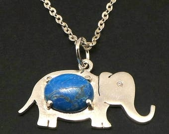 Silver Elephant Turquoise Bead Necklace - Oval Turquoise Bead Necklace, Elephant Pendant Charm Jewelry, gift for her, Christmas gfit, Safari