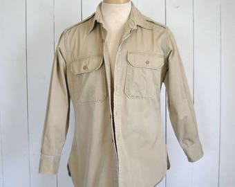 34% Off Sale - Cotton Canvas Button Up - Vintage Distressed Work Shirt Jacket - Tan Rustic Woodland Oxford - Extra Large XL