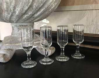 Glass Cordials Footed Shot Glass Clear Vintage Set 4 ~ #A2624