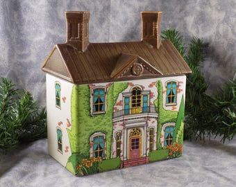 1980's Enesco Cookie/Tea Storage Canister Williamsburg Real Estate House Made in Japan