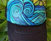 Hand painted beach snap back