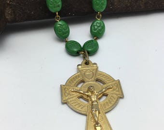 Celtic Cross Necklace Rosary Necklace vintage Assemblage Necklace