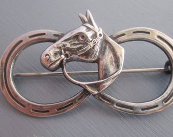 Vintage Sterling silver Equestrian Horse Head and Double Horseshoes Brooch