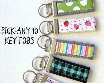 Womens Gift for Her - 10 Mini KEY FOB - Christmas Stocking Stuffer Gift Idea - Womens Key Chain - Womens Key Ring- Best Friend Gift Under 10
