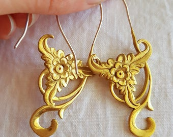 Silver and brass design earrings