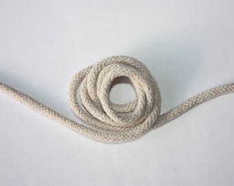 5 mm Beige Cotton Rope = 5 Yards = 4.57 Meters of Elegant Cotton Braided Cord-Bulky Yarn-Super Bulky Yarn - Macrame Cotton Cord