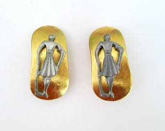 Lady Golfer Earrings // 1980s Silver Gold Clip Ons