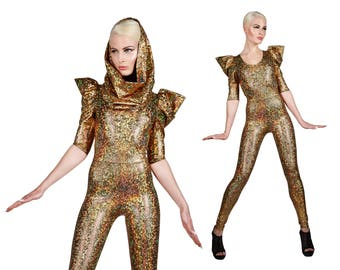 Signature Catsuit Gold, Holographic Clothing, Gold Jumpsuit, Burning Man Outfit, Futuristic Costume, Stage Wear, Dancewear, by LENA QUIST