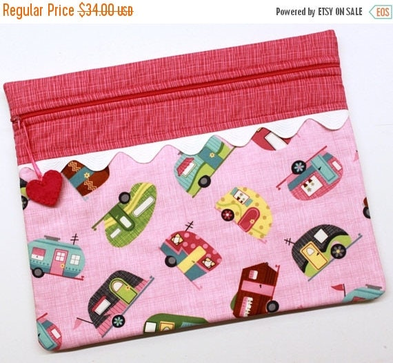 SALE Pink Retro Campers Cross Stitch Embroidery Project Bag