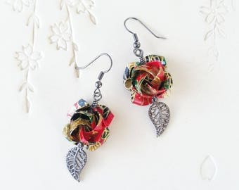 Origami Jewelry - Japanese Origami Rose Earrings with Surgical Steel Hooks No.03544