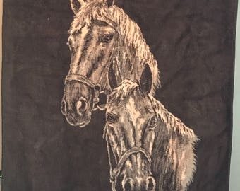 "Vintage San Marcos Blanket Horses Equestrian Mexico 80"" x 58"" Soft Plush"