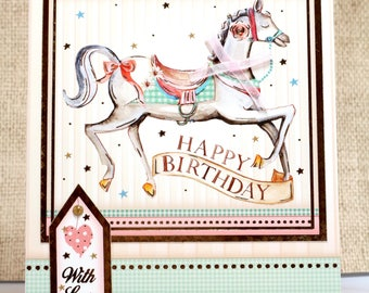 Happy Birthday Card- Birthday Cards- Horse Birthday- Horse Card- Girl Birthday Card