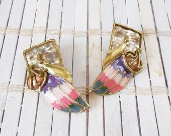 Mixed Metal Modernist Earrings, Pastel Enamel, Brutalist earrings, 1980's style, Abstract, Silver Gold Copper, Weird & Wonderful, Odd, Cool