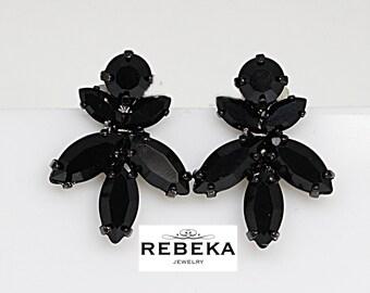 Black Crystal Studs, Black Jewelry, Statement Earrings, Swarovski Black Earrings, Cluster Black Evening Earrings, Bridesmaids Black Earrings