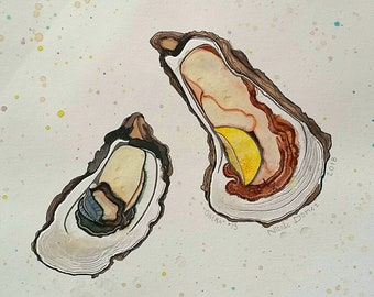 Oysters on the half shell 11x14 original watercolor painting