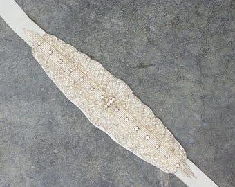 Crystal Silver Ivory Ribbon Belt Headband Handcrafted Art Deco Grosgrain Bridal Wedding 600
