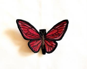 BUTTERFLY Hair Clip - RED - barrette, fascinator