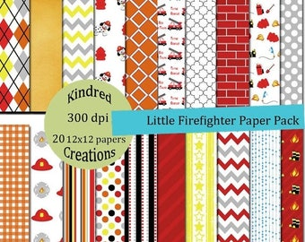 99 Cent Sale Little Firefighter Paper Pack 12x12 Digital Paper Pack 300 dpi Printable small business use