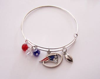 Bangle Bracelet, Patriots Bangle Bracelet, Patriots Accessory, Handstamped Bangle Bracelet (14)