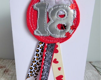 Custom Birthday Age Rosette. Create your own bespoke birthday badge for any age! Personalised birthday number badge and card with envelope