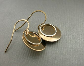 Gold Disc Earrings Mixed Metals Dangle Earrings Gold and Silver Earrings