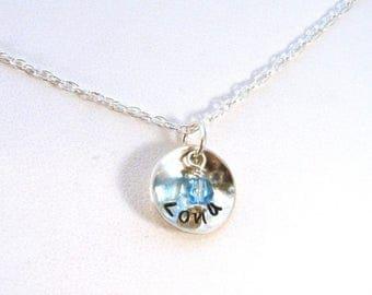 SALE CIJ2017 Girl's Name Necklace, Girl's Birthstone Necklace, Girl's Sterling Silver Necklace