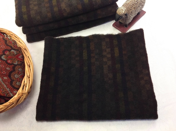 Fat 1/4 yd, Midnight Black, Hand Dyed Wool Fabric for Rug Hooking and Applique, W442, Black Plaid with muted colors