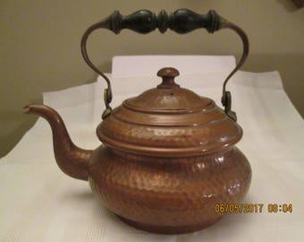 Vintage Copper Tea Pot, Made in Paris, Home Decor, Wooden Handle Tea Pot, Coffee Pot, Kitchen decor, Tea for Two