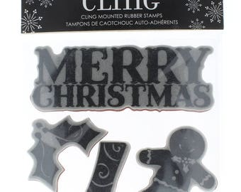 Hampton Art Cling Rubber Stamp Merry Christmas Gingerbread Stocking Set