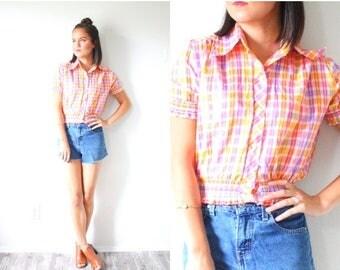 20% OFF JULY 4th SALE Vintage plaid short sleeve shirt // orange pink purple plaid blouse // Small Xs // Plaid print t-shirt thin / cowgirl
