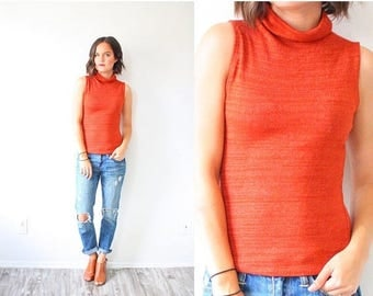 30% OFF SALE Vintage XS rust orange tank top // boho tank top // high neck turtle neck 90's tank top // cut off tank top // formal work tank