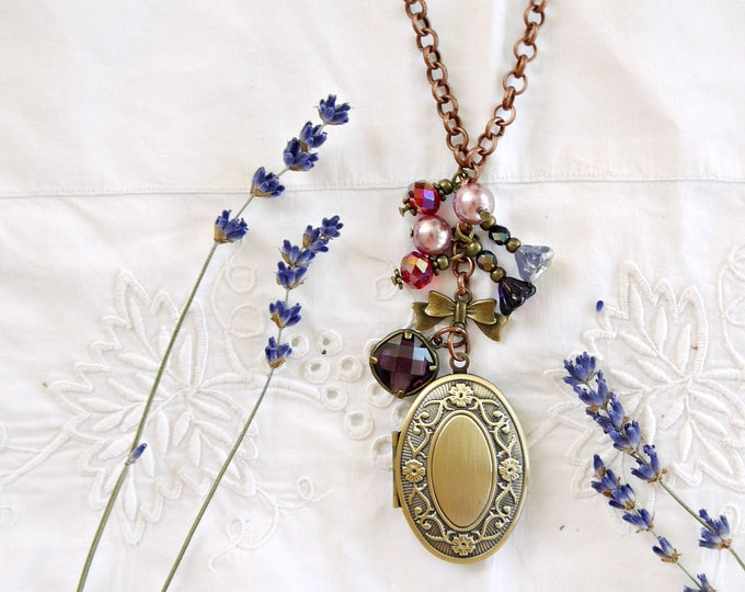 Antiqued bronze oval photo locket necklace with glass charms in red, pink and purple, victorian style brass foto locket necklace with charms