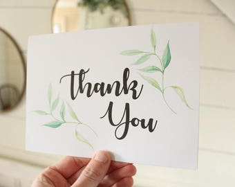 Simple Thank You Card | Watercolor Greenery Card | Greeting Card