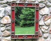 RESERVED FOR SHARON: Twig and Pine Cone Diamond Design in Red Crackle Finish