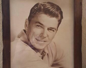 Ronald Reagan Mid Century Vintage 11x14 Sepia Toned Framed Photograph