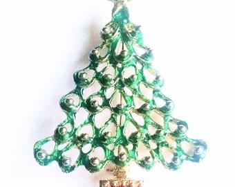 Christmas Tree Pin Brooch Green Enamel Gold Enamel Ornaments Vintage Jewelry Jewellery